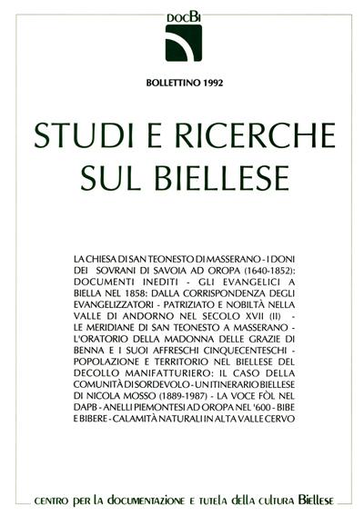 Studi e ricerche sul Biellese - Bollettino 1992