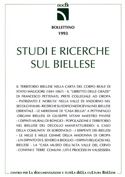 Studi e ricerche sul Biellese - Bollettino 1993