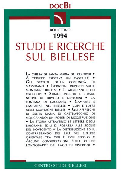 Studi e ricerche sul Biellese - Bollettino 1994