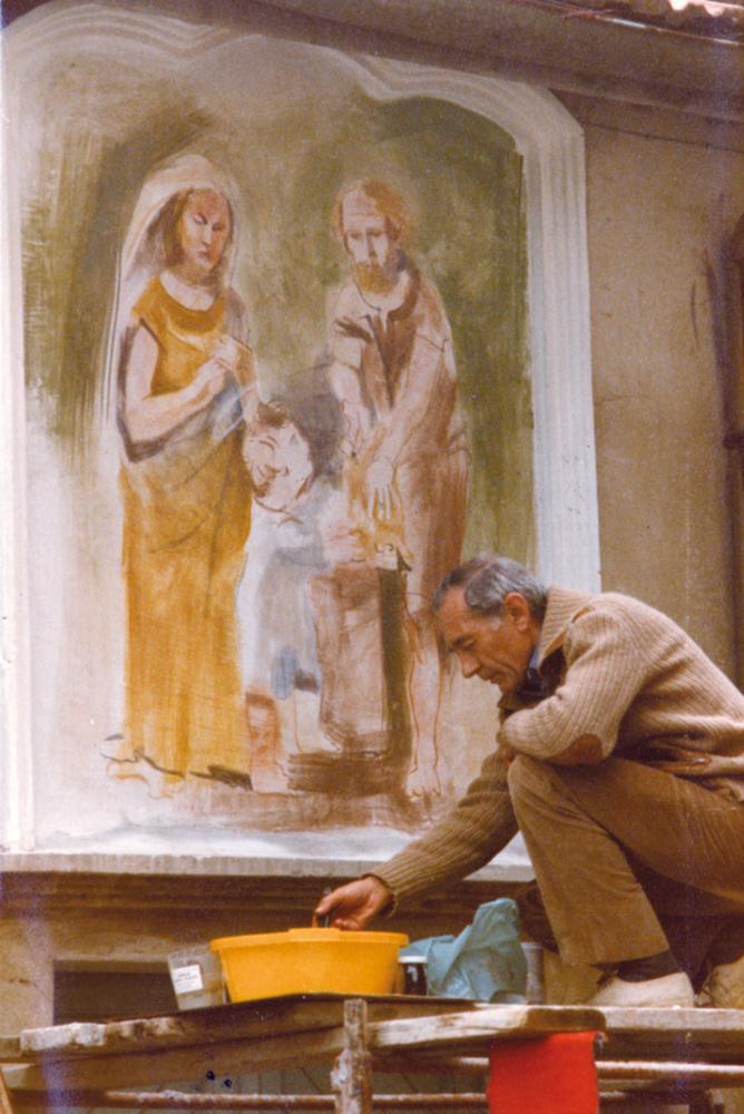 <b>L'artista Ermes Cancelliere al lavoro, Trivero, 1984</b><br />