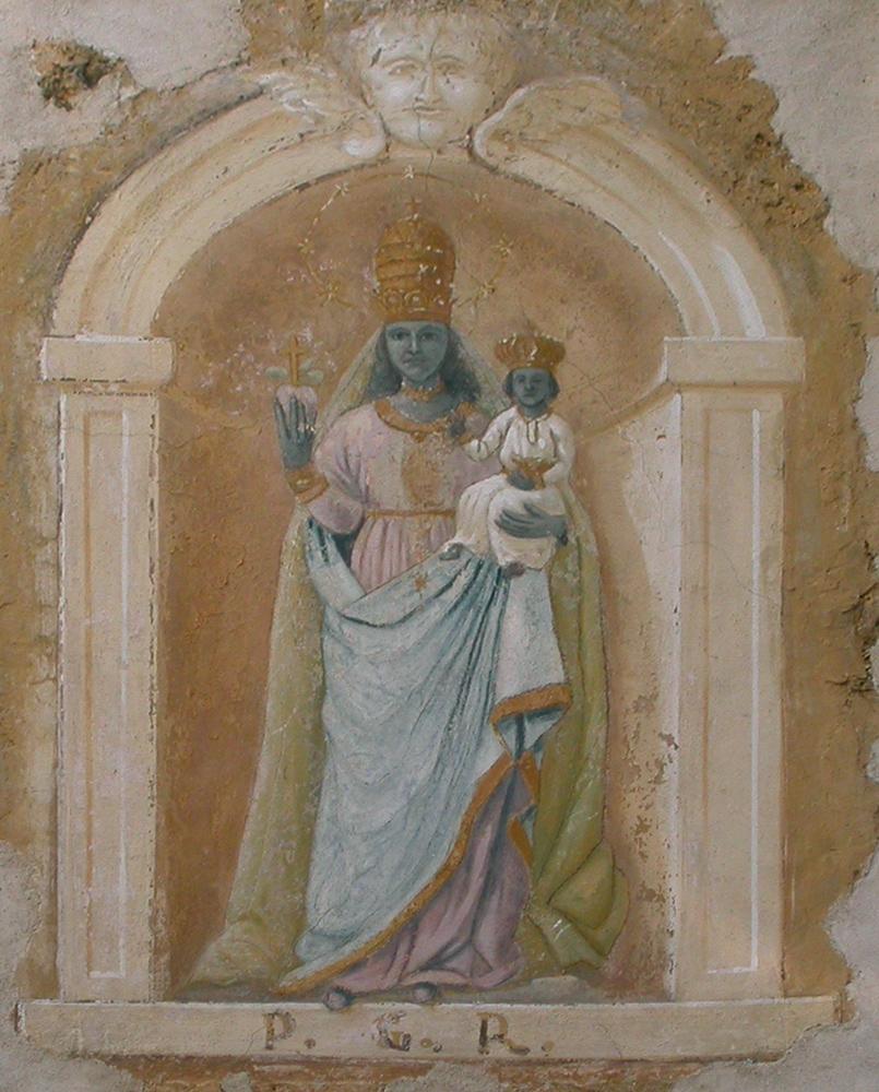 <b>Camandona, fraz. Cerale: dipinto murale raffigurante la Madonna di Oropa</b><br />