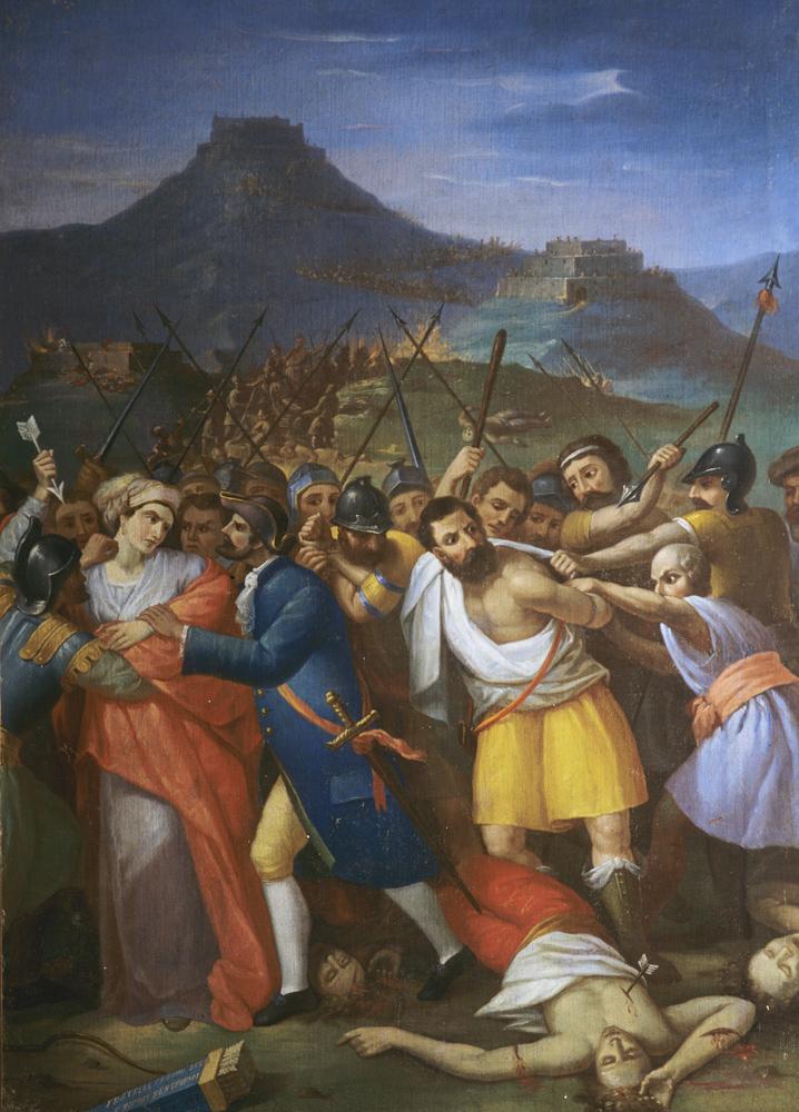 """<b>Antonio Ciancia, """"La cattura di Margherita e fra Dolcino"""", 1867</b><br />(Trivero, chiesa Matrice)"""