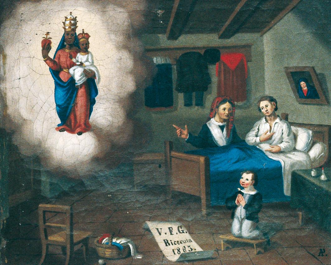 <b>Dipinto ex voto, 1865</b><br />(santuario di Oropa)