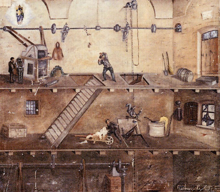 <b>Dipinto ex voto, lanificio Garbaccio, 1897</b><br />santuario di Oropa