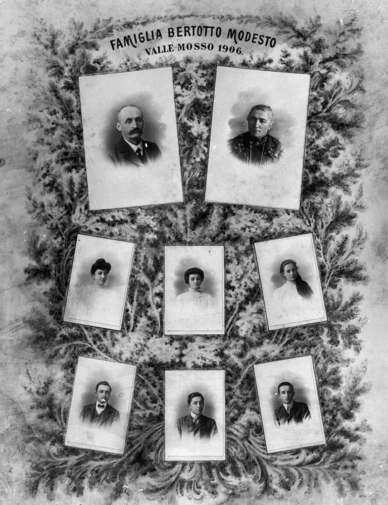 <b>Valle Mosso, famiglia Bertotto Modesto</b><br />foto Studio Rossetti, 1906 (archivio DocBi)