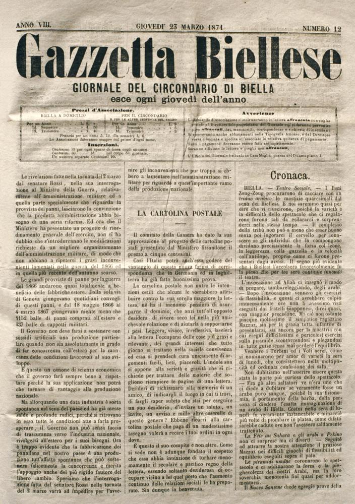 """<b>Numero del settimanale """"Gazzetta Biellese"""", 23 marzo 1871</b><br />"""