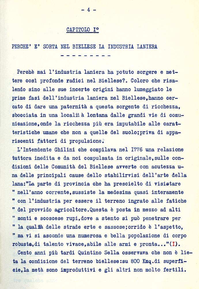 <b>Pagina della tesi di laurea di Anton Dante Coda sulle maestranze laniere nel Biellese, 1927</b><br />